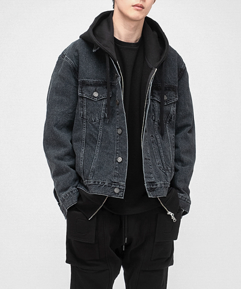 2001 SLOW WORKER DENIM WASH. JACKET [BLACK INDIGO]